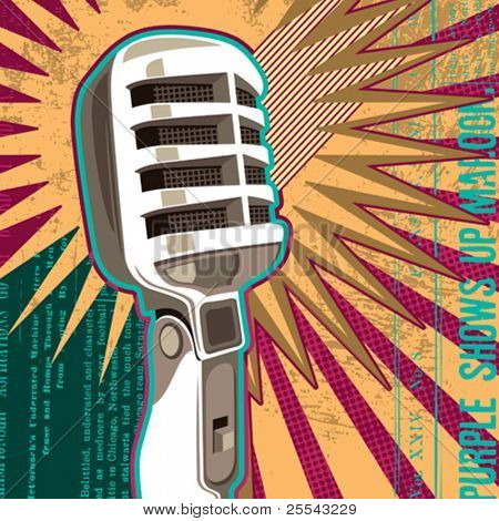 Retro microphone with abstract elements. Vector illustration.