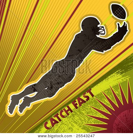 American football player poster. Vector illustration.