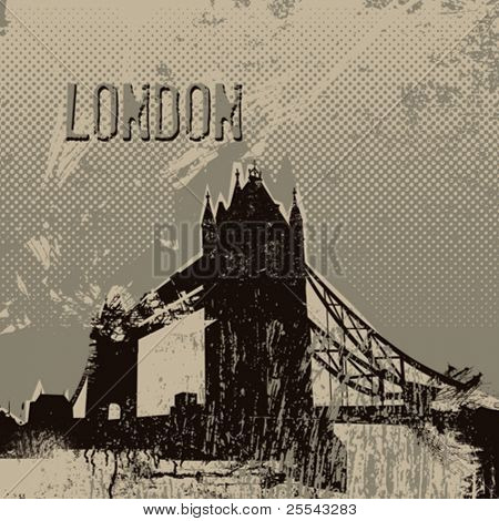 London tower bridge poster. Vector illustration.