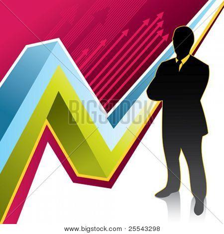 Successful businessman background. Vector illustration.