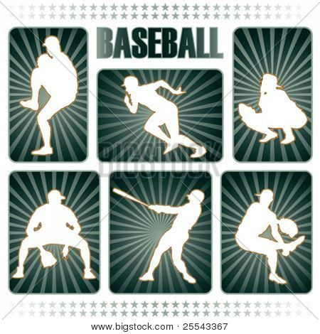 Baseball players silhouettes. Vector illustration.