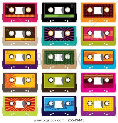 Cassetes áudio isolado no branco. Ilustração vetorial.