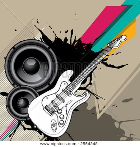 Urban background with electric guitar. Vector illustration.