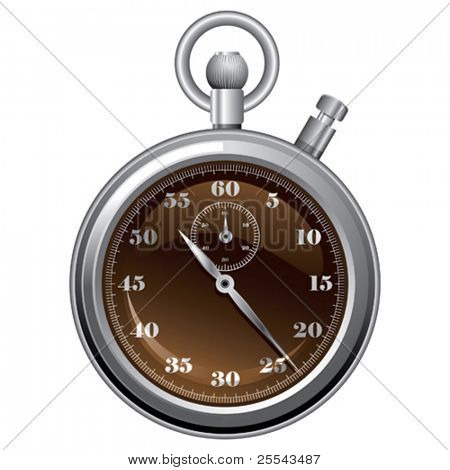 Stop watch isolated on white. Vector illustration.