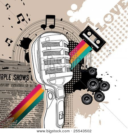Designed background with microphone. Vector illustration.