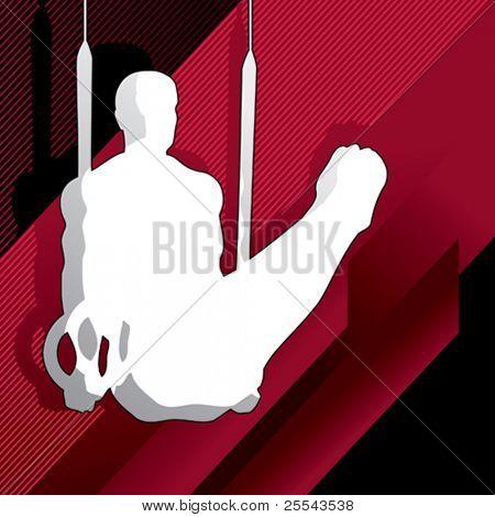 Silueta de hombre gimnástico. Ilustración del vector.