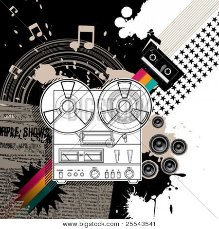 Hi Fi stereo artistic background. Vector illustration.