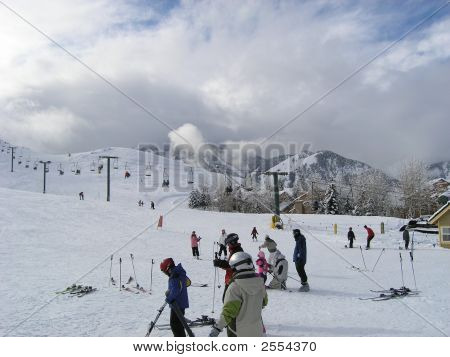 Ski Resort On Cloudy Morning