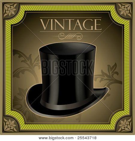Vintage banner with top hat. Vector illustration.