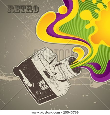 Designed background with retro camera. Vector illustration.
