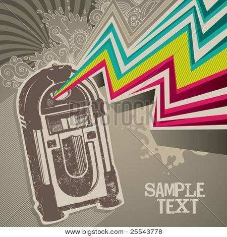 Designed retro banner with jukebox. Vector illustration.