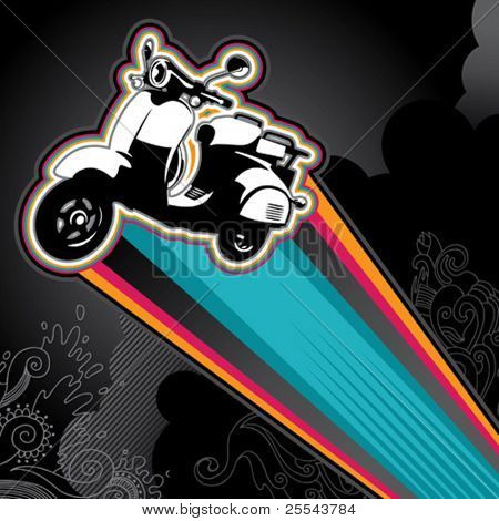 Designed banner with retro scooter. Vector illustration.