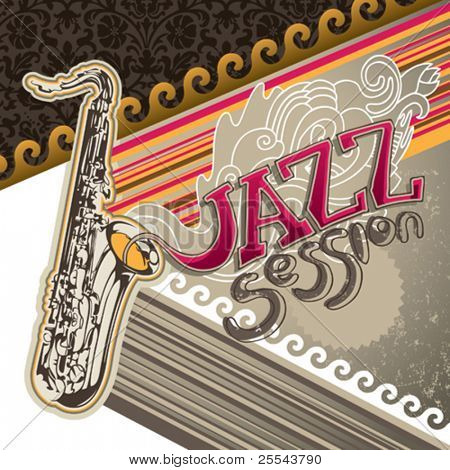 Artistic jazz banner with designed graphic elements. Vector illustration.