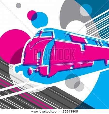 Conceptual artistic graphic with locomotive.  Vector illustration.
