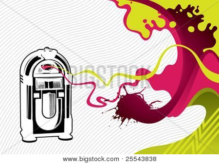 Designed stylized banner with jukebox. Vector illustration.