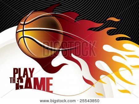 Designed basketball banner with stylized shapes. Vector illustration.
