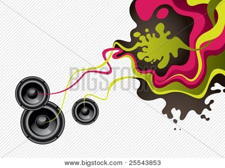 Designed artistic modern banner with speakers. Vector illustration.