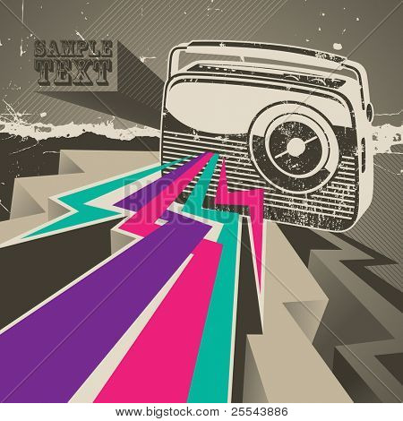 Artistic designed banner with retro radio. Vector illustration.