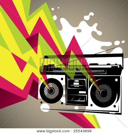 Artistic banner with retro radio silhouette. Vector illustration.