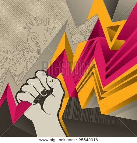 Designed abstract banner with fist. Vector illustration.