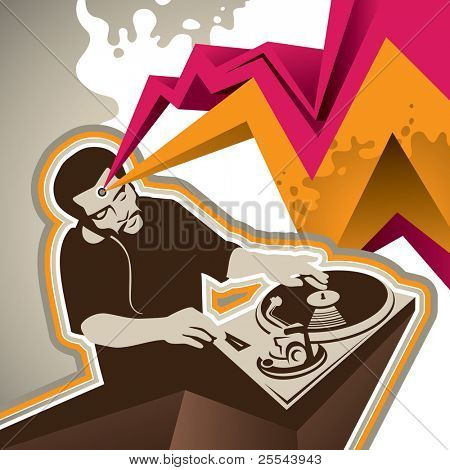 Designed banner with stylized dj figure. Vector illustration.