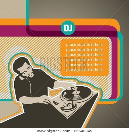 Designed modern banner with dj. Vector illustration.