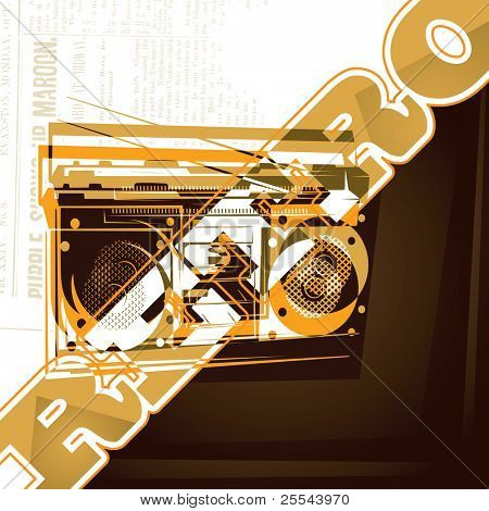 Artistic background with old radio. Vector illustration.