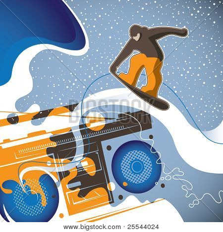 Designed conceptual snowboarding banner. Vector illustration.