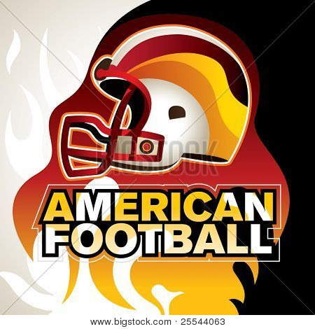 Designed american football banner with helmet. Vector illustration.
