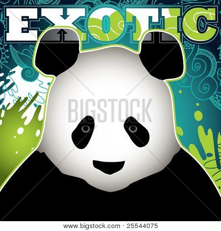 Designed exotic banner with panda. Vector illustration.