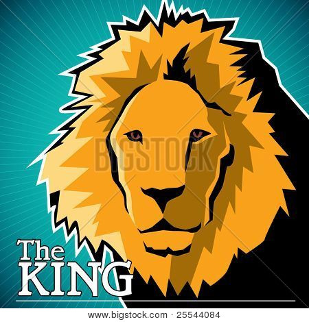 Designed artistic banner with lion. Vector illustration.