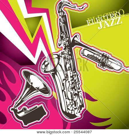 Designed modern jazz artistic banner. Vector illustration.