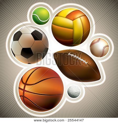 Composed set of different balls. Vector illustration.