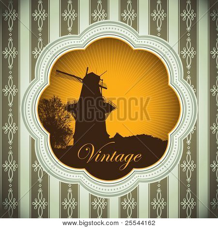 Designed vintage background with windmill. Vector illustration.
