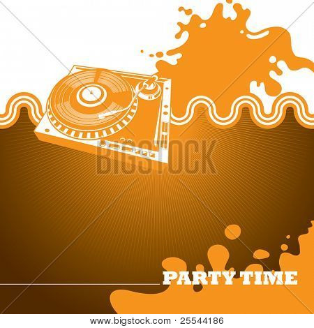 Designed party banner with turntable. Vector illustration.