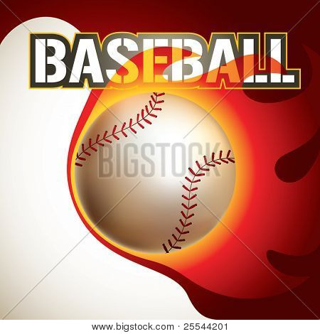 Baseball background with stylized fire. Vector illustration.