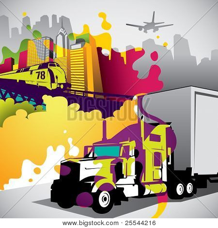 Conceptual colorful urban city background. Vector illustration.