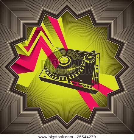 Designed conceptual banner with turntable. Vector illustration.