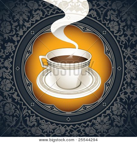 Vintage background with cup of coffee. Vector illustration.