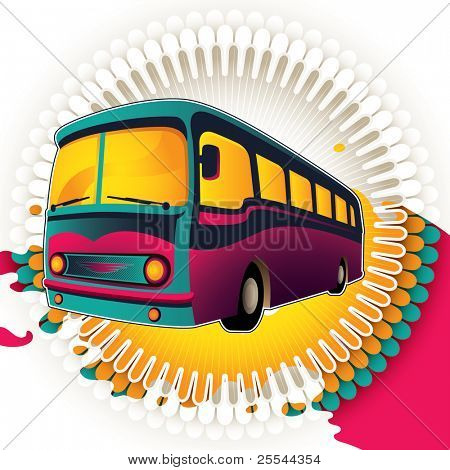 Colorful background with retro bus. Vector illustration.