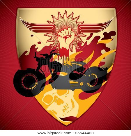 Illustrated motorcycling background. Vector illustration.