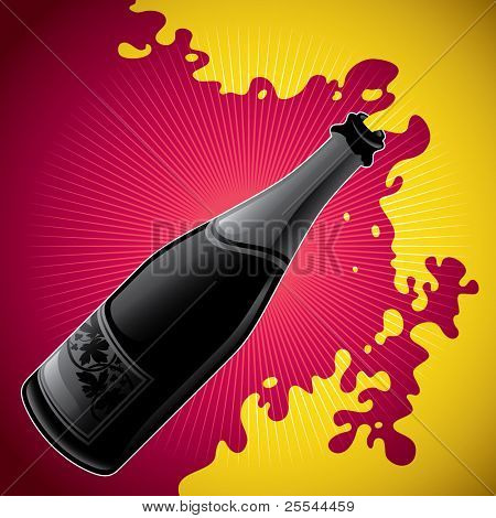 Stylized illustration of champagne bottle. Vector illustration.
