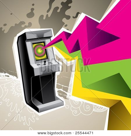 Illustrated arcade game machine with colorful abstraction. Vector illustration.
