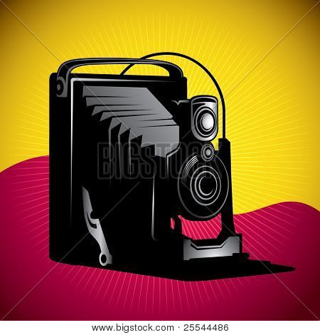 Stylized illustration of old camera. Vector illustration.