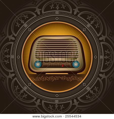 Vintage background with old radio. Vector illustration.
