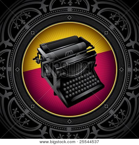 Vintage background with old typewriting machine. Vector illustration.