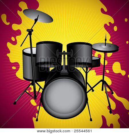Stylized illustration of drum set. Vector illustration.