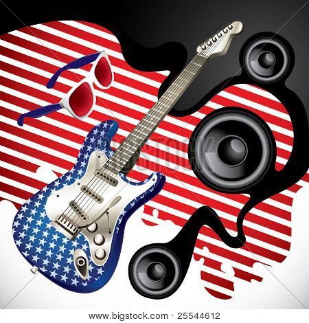 Designed background with stylish electric guitar. Vector illustration.