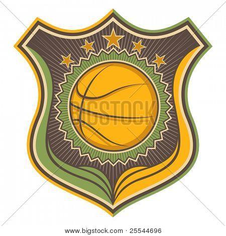 Retro Basketball Wappen dargestellt. Vektor-Illustration.