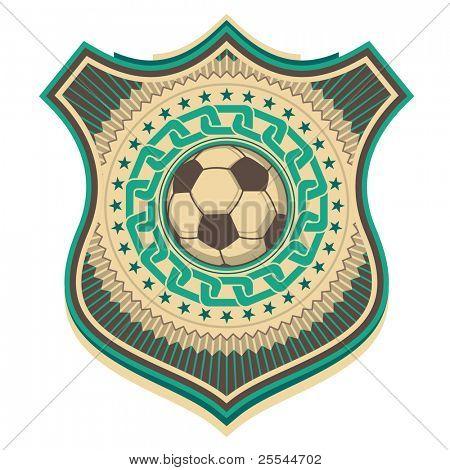 Ilustrado cresta de fútbol retro. Ilustración del vector.